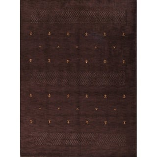 Porch & Den Snowberry Dark Brown Hand-made Abstract Gabbeh Area Rug - 8' X 11'