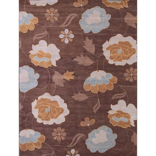 "Gracewood Hollow Semenko Hand-tufted Brown Floral Square Rug - 9'9"" Square"