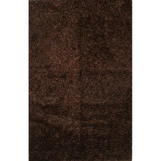 "Porch & Den Beckman Brown Hand-made Shaggy Oriental Area Rug - 7'5"" x 5'4"""