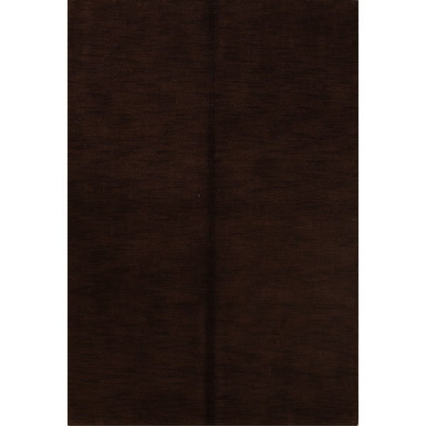 """Porch & Den Brandyshire Brown Solid Color Handmade Wool Oriental Area Rug - 5'9"""" x 4'1"""""""