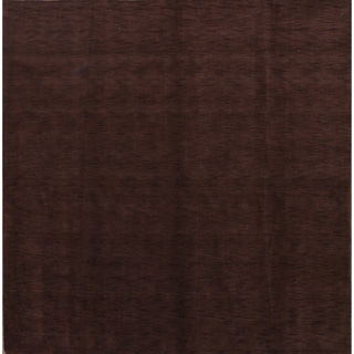 "Porch & Den Brandyshire Chocolate Brown Solid Color Handmade Oriental Area Rug - 8'2"" x 8'3"" square"