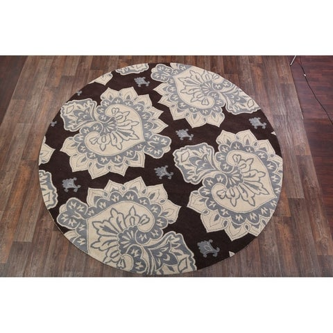 Copper Grove Auning Oushak Handmade Indian Oriental Floral Rug Brown - 9'9 Round