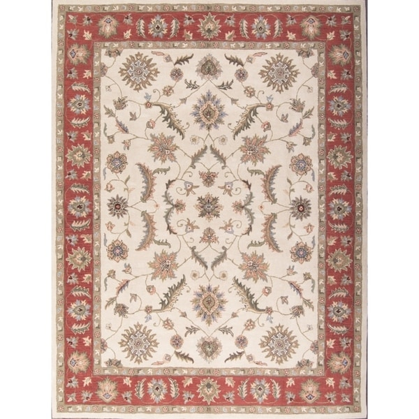 Shop Oushak Floral Tufted Wool Persian Oriental Area Rug: Shop Floral Ivory Hand Tufted Oushak Agra Oriental