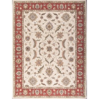 """Copper Grove Polystypos Floral Ivory Hand Tufted Oushak Agra Oriental Traditional Area Rug - 13'0"""" x 10'0"""""""