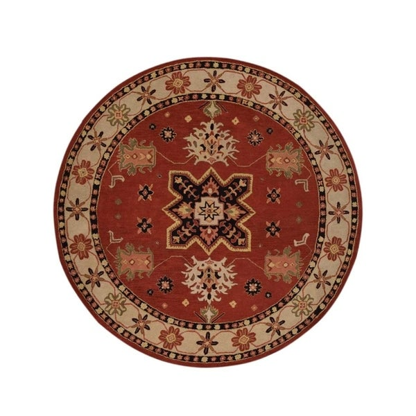 "Gracewood Hollow Habra Tufted Blend Kazak Woolen Classical Kazak Rug - 9'11"" round"
