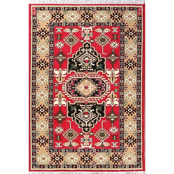 "Copper Grove Vasilikos Geometric Kazak Persian Oriental Acrylic Area Rug Carpet - 9'10"" x 6'5"""
