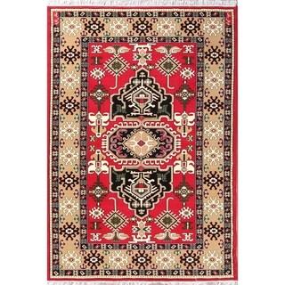 "Copper Grove Vasilikos Geometric Kazak Persian Oriental Acrylic Area Rug Carpet - 9'10"" x 6'5"""