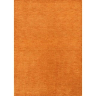 "Strick & Bolton Francesco Orange Hand-knotted Wool Area Rug - 7'9"" x 5'8"""
