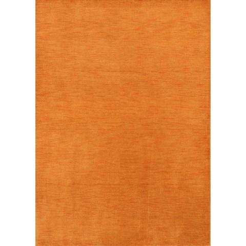 "Strick & Bolton Francesco Orange Hand-knotted Wool Area Rug - 7'9"" x 5'8"""