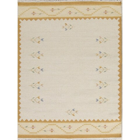 Hand Woven Contemporary Kilim Dhurrie Oriental Floral Area Rug