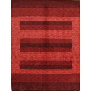 Handmade Striped Gabbeh Indian Oriental Ombre Area Rug