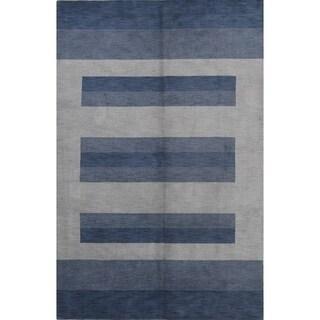 "Strick & Bolton Corbin Blue Handmade Wool Area Rug - 9'11"" x 6'8"""