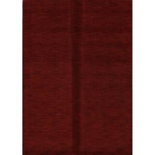 "Porch & Den Brandyshire Red Solid Color Handmade Wool Oriental Area Rug - 6'0"" x 4'3"""