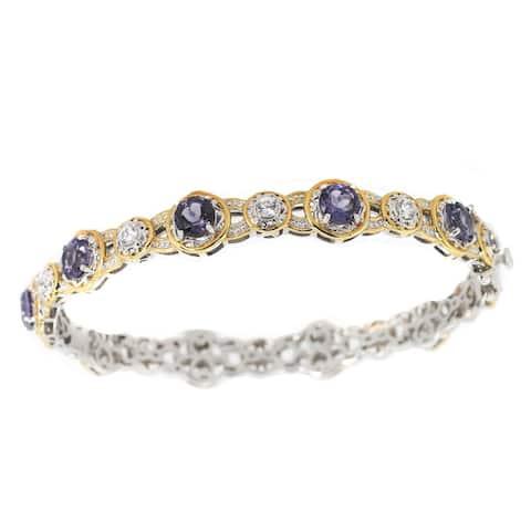 Michael Valitutti Palladium Silver Blue Amethyst & White Zircon Bangle Bracelet