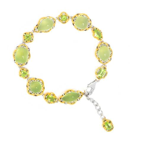 Michael Valitutti Palladium Silver Multi Shape Lime Chalcedony & Peridot Line Bracelet