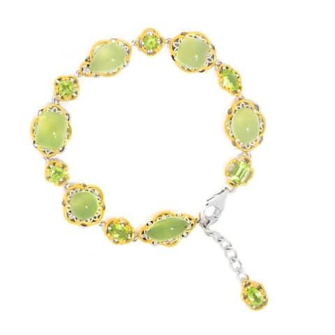 Gems en Vogue Palladium Silver Multi Shape Lime Chalcedony & Peridot Line Bracelet