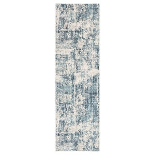 "Caden Abstract Blue/ Ivory Runner Rug - 2'6"" x 8' Runner"