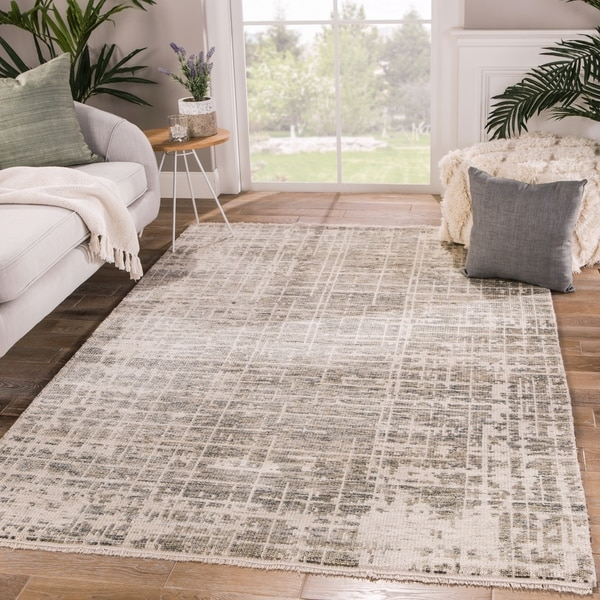 Peziah Hand-Knotted Abstract Ivory/ Gray Runner Rug - 3' x 12' Runner