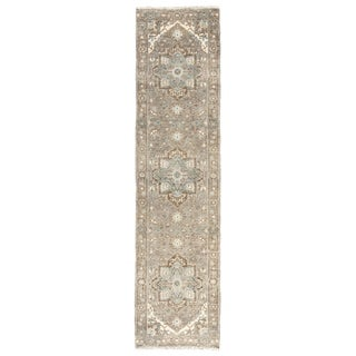Winter Hand-Knotted Medallion Gray/ Blue Runner Rug - 3' x 12' Runner