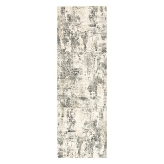 "Cas Abstract Gray/ Ivory Runner Rug - 2'8"" x 8' Runner"