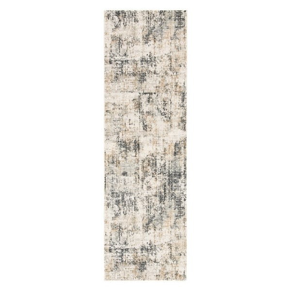 "Caden Abstract Gray/ Ivory Runner Rug - 2'6"" x 8' Runner"