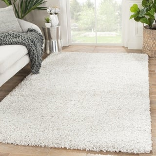 Rhys Solid White/ Silver Area Rug - 5' x 8'
