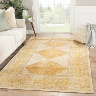 "Eluned Hand-knotted Medallion Gold/ Gray Area Rug - 8'10"" x 12'"