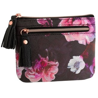 Midnight Peony RFID Large I.D. Coin/Card Case