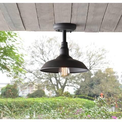 Hoffman Black 9 Inch Outdoor 1-Light Semi Flush Mount