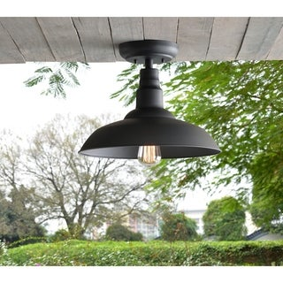 Hoffman Black 11 Inch Outdoor 1-Light Semi Flush Mount