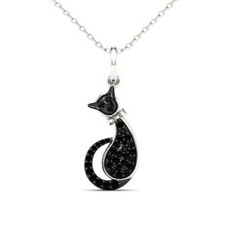 AALILLY 10k White Gold Diamond Accent Cat Pendant Necklace (H-I, I1-I2)