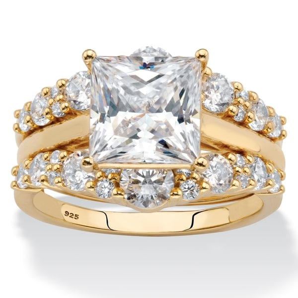 Yellow Gold over Sterling Silver Cubic Zirconia Bridal Ring Set. Opens flyout.