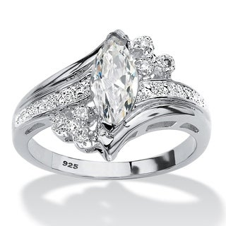 Sterling Silver Marquise Cut Engagement Ring Cubic Zirconia