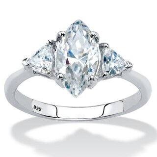 Platinum over Sterling Silver Marquise Engagement Ring Cubic Zirconia