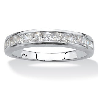 Platinum Over Sterling Silver Cubic Zirconia Ring