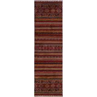 Khurgeen Garish Carolina Red/Blue Wool Rug (2'9 x 11'9) - 2 ft. 9 in. x 11 ft. 9 in.
