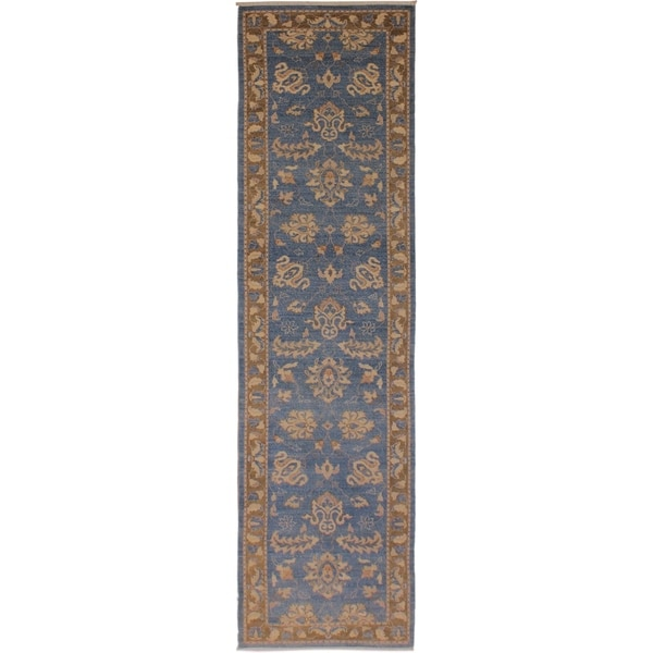 Kafkaz Peshawar Brook Lt. Blue/Brown Wool Rug (2'7 x 12'4) - 2 ft. 7 in. x 12 ft. 4 in.