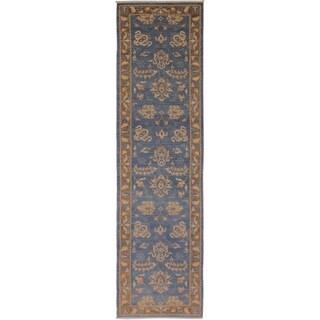 Kafkaz Peshawar Brook Lt. Blue/Brown Wool Rug (2'7 x 12'4) - 2 ft. 7 in. x 12 ft. 4 in.