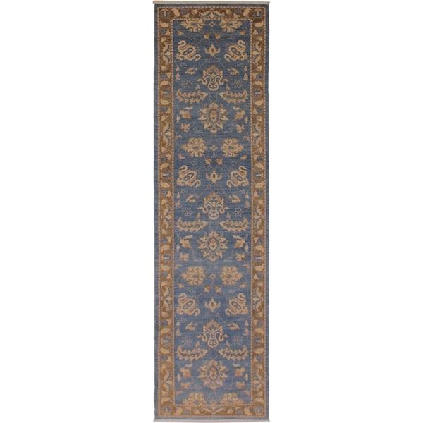 Kafkaz Peshawar Ricki Lt. Blue/Brown Wool Rug (2'7 x 12'2) - 2 ft. 7 in. x 12 ft. 2 in.