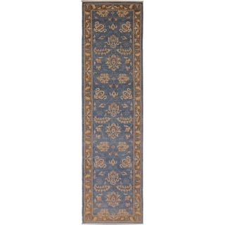 Kafkaz Peshawar Ricki Lt. Blue/Brown Wool Rug (2'7 x 12'2) - 2 ft. 7 in. x 12 ft. 2 in.