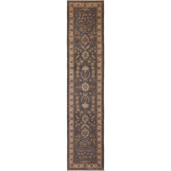 "Ziegler Peshawar Cristy Grey/Ivory Hand-Knotted Wool Runner - 2'10 x 14'6 - 2'10"" x 14'6"""