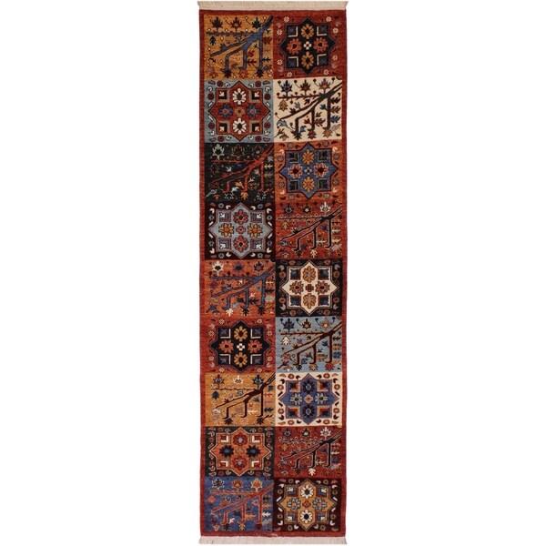 Kafkaz Peshawar Treva Rust/Blue Wool Rug (2'8 x 9'3) - 2 ft. 8 in. x 9 ft. 3 in.