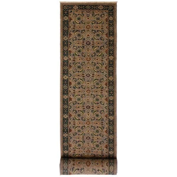 Kafkaz Peshawar Octavia Lt. Gray/Green Wool Rug (3'0 x 17'10) - 3 ft. 0 in. x 17 ft. 10 in.