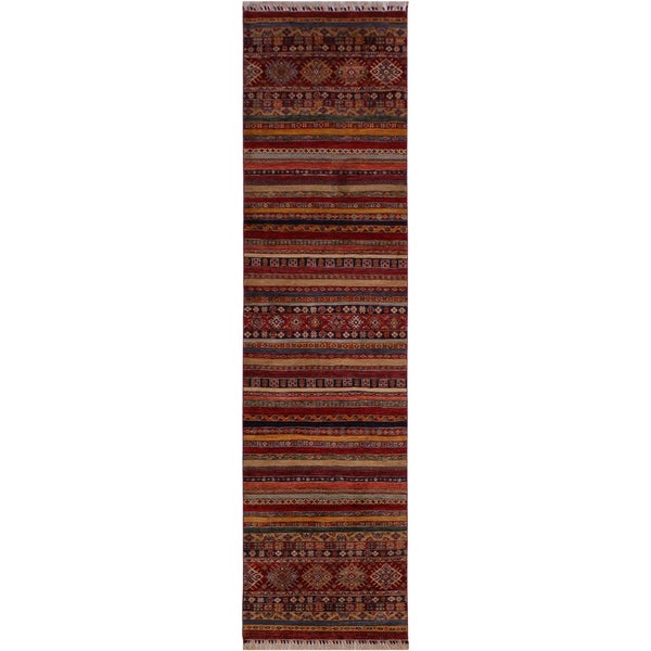 Khurgeen Garish Carolin Red/Blue Wool Rug (2'8 x 11'9) - 2 ft. 8 in. x 11 ft. 9 in.