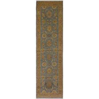 Kafkaz Peshawar Karyn Lt. Blue/Lt. Brown Wool Rug (2'9 x 9'8) - 2 ft. 9 in. x 9 ft. 8 in.