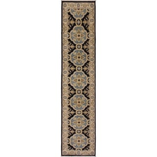 Kafkaz Peshawar Corey Blue/Ivory Wool Rug (2'7 x 10'0) - 2 ft. 7 in. x 10 ft. 0 in.
