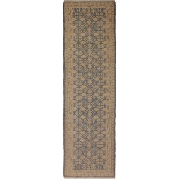 Sun-Faded Peshawar Hallie Lt. Blue/Ivory Wool Rug (2'10 x 12'5) - 2 ft. 10 in. x 12 ft. 5 in.
