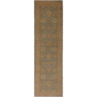 Kafkaz Sun-Faded Cherry Lt. Blue/Tan Wool Rug (2'5 x 9'7) - 2 ft. 5 in. x 9 ft. 7 in.