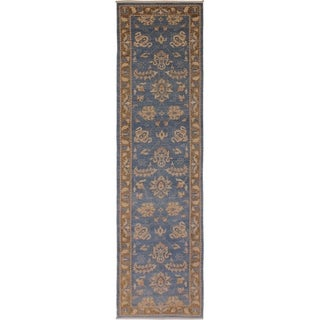 Kafkaz Peshawar Stefany Lt. Blue/Brown Wool Rug (2'7 x 12'3) - 2 ft. 7 in. x 12 ft. 3 in.