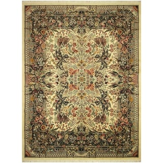 Pak-Persian Tamala Ivory/Black Wool Rug (12'10 x 17'2) - 12 ft. 10 in. x 17 ft. 2 in.